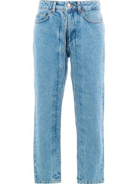 Niebieskie spodnie bawełniane z paskiem Aalto