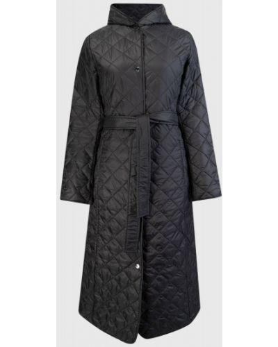 Черное пальто с капюшоном на кнопках с поясом Ostin