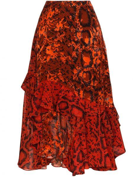 Spódnica midi z falbanami z wysokim stanem asymetryczna Preen By Thornton Bregazzi