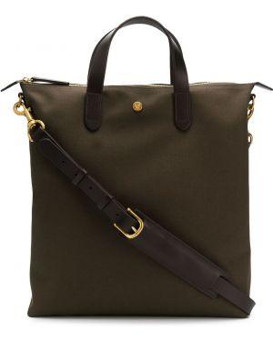 Коричневая сумка шоппер с пряжкой Mismo
