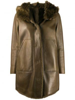 Зеленое кожаное пальто с капюшоном Yves Salomon