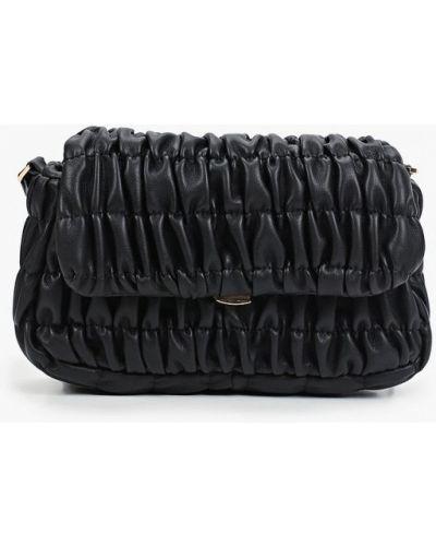 Черная кожаная сумка через плечо Mango