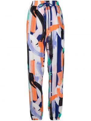 Прямые брюки с нашивками с принтом из вискозы Armani Exchange