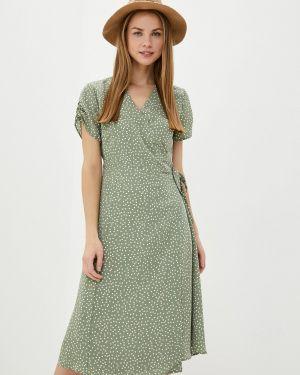 Однобортное зеленое платье Sela