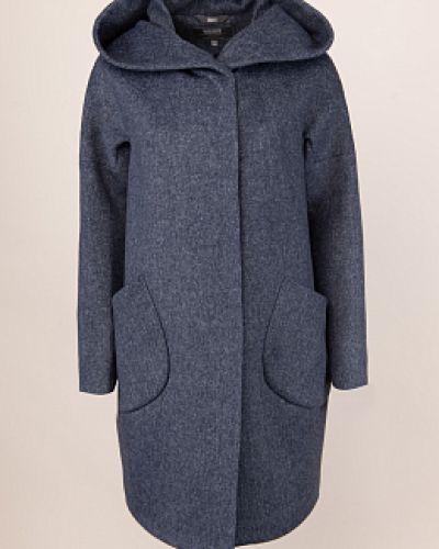 Синее шерстяное пальто с капюшоном каляев