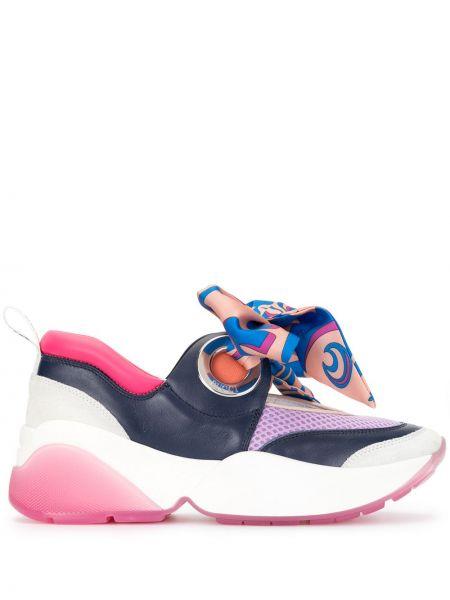 Skórzane sneakersy niebieski Emilio Pucci