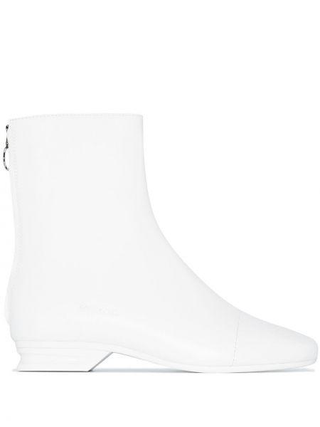 Białe botki na niskim obcasie Raf Simons