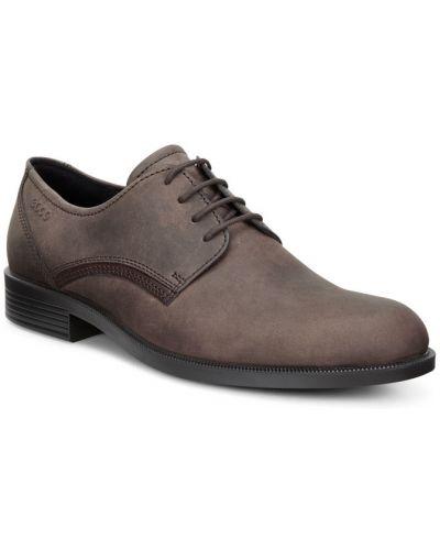 Классические туфли на шнуровке из нубука Ecco