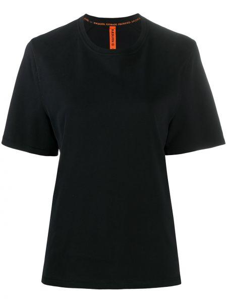 Свободная черная прямая рубашка с коротким рукавом круглая Raeburn