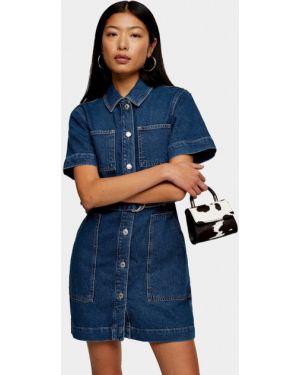 Джинсовое платье осеннее синее Topshop