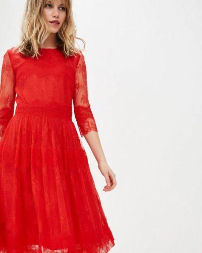 Вечернее платье красный осеннее Lusio