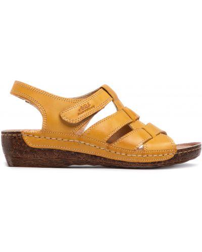 Босоножки на каблуке - желтые Waldi