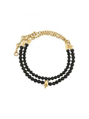 Bransoletka łańcuch srebrna - czarna Northskull