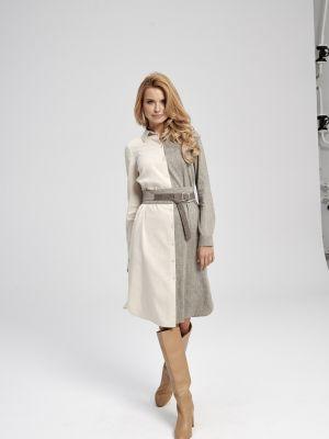 Beżowa sukienka materiałowa Ezuri