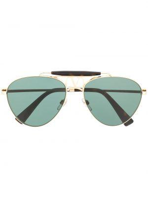 Золотистые солнцезащитные очки металлические хаки Valentino Eyewear
