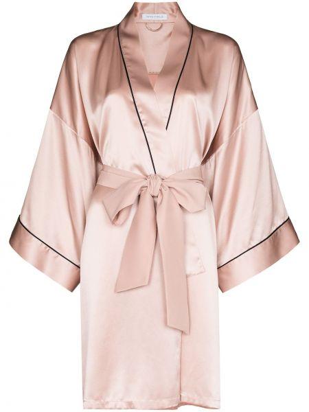Шелковый халат - розовый Olivia Von Halle