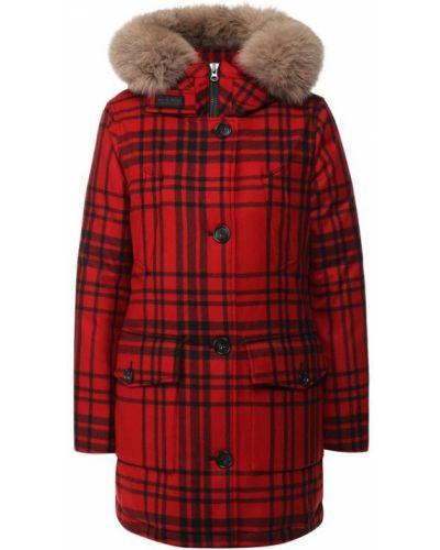 Куртка с капюшоном с мехом кашемировая Woolrich