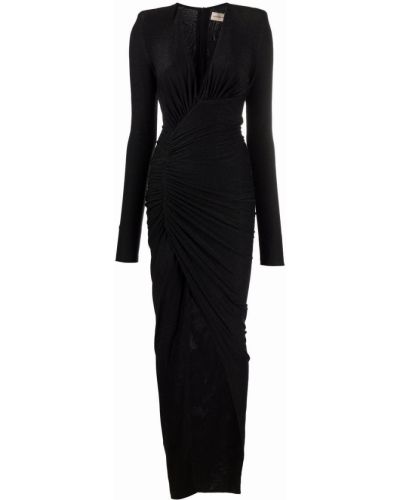 Платье макси с длинными рукавами - черное Alexandre Vauthier