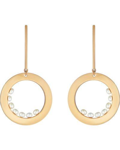Серьги с жемчугом удлиненные позолоченные Serebriciti Jewelry