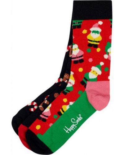 Niebieskie prążkowane skarpety bawełniane Happy Socks