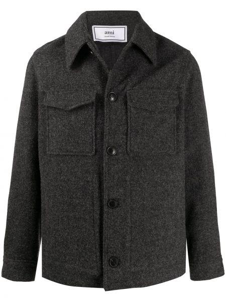 Klasyczny płaszcz wełniany z długimi rękawami Ami