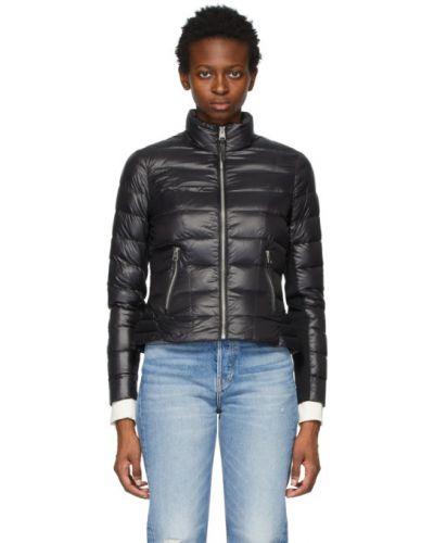 Черная стеганая кожаная длинная куртка Mackage