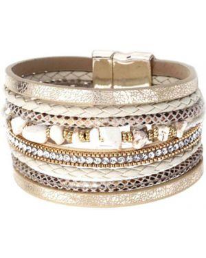 Кожаный браслет с агатом с камнями Evora