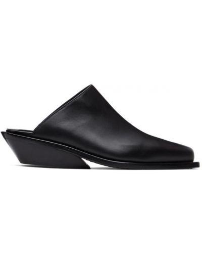 Czarny loafers z prawdziwej skóry kwadratowy kaskada Ann Demeulemeester