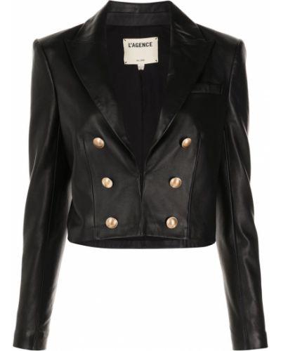 Кожаный черный удлиненный пиджак на пуговицах L'agence