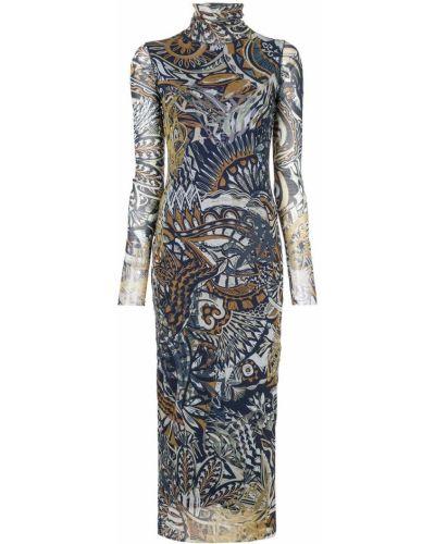 Платье миди с прозрачными рукавами прямое Fuzzi
