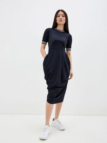 Повседневное платье с завышенной талией синее High