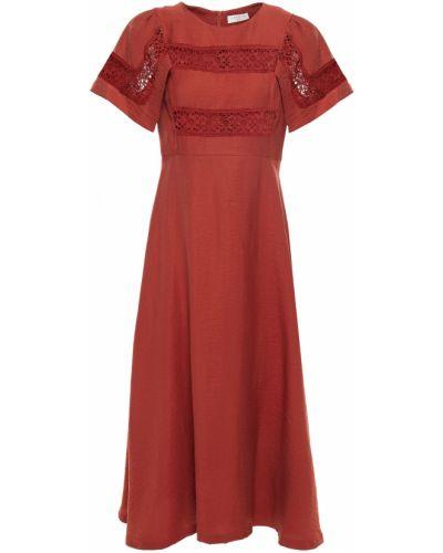 Льняное оранжевое кружевное платье миди Sandro