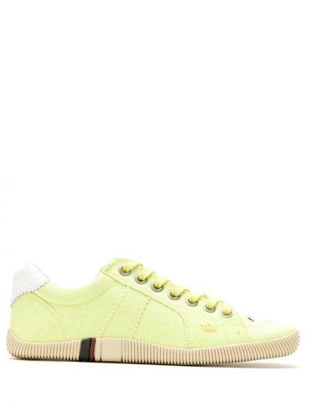 Хлопковые золотистые желтые кроссовки на шнуровке Osklen