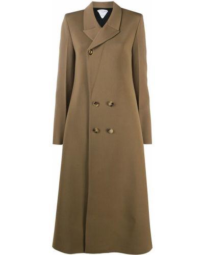 Шерстяное длинное пальто на пуговицах двубортное Bottega Veneta