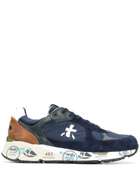 Синие кроссовки на тракторной подошве на каблуке с заплатками Premiata