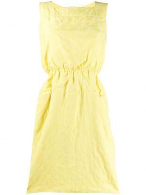 Плиссированное желтое платье с вырезом Pierre Cardin Pre-owned