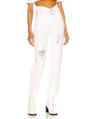 Białe jeansy z paskiem bawełniane Marissa Webb