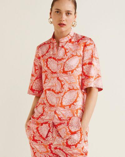 Блузка с воротником-стойкой прямая Mango
