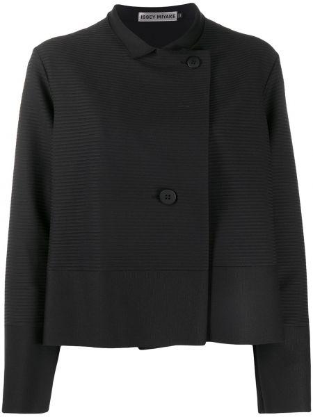 Черный пиджак на пуговицах с вырезом Issey Miyake