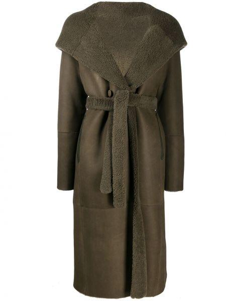 Зеленое кожаное длинное пальто с воротником Liska