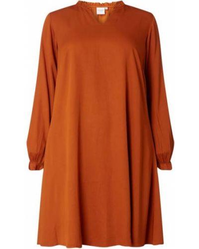 Brązowa sukienka rozkloszowana z falbanami z wiskozy Junarose