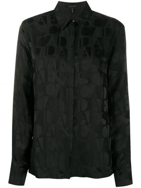 Шелковая черная рубашка с воротником на пуговицах Escada