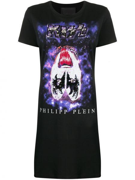 Платье с пайетками с вышивкой Philipp Plein