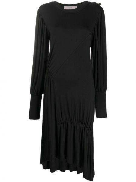 Черное асимметричное платье миди с оборками с вырезом Preen Line