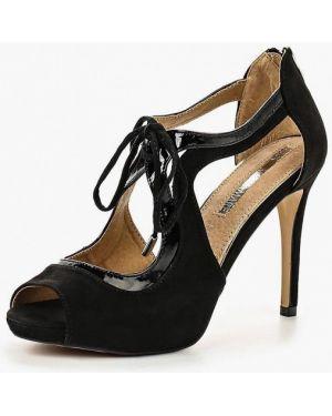 Лаковые кожаные черные босоножки Mariamare