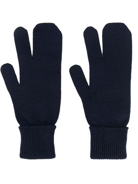 Синие шерстяные перчатки в рубчик Maison Margiela