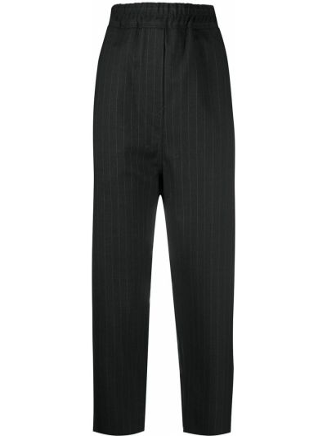 Шерстяные черные брюки с заниженным шаговым швом с поясом Nili Lotan