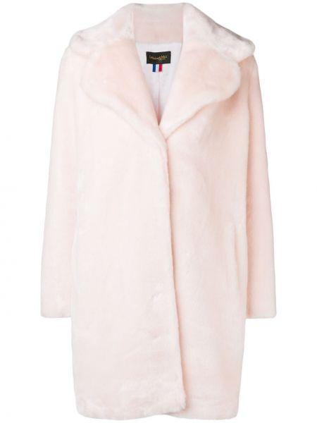 С рукавами акриловое прямое розовое длинное пальто La Seine & Moi