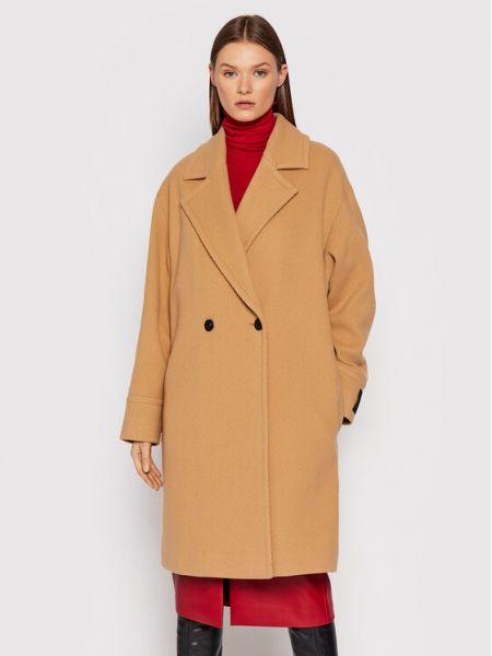 Płaszcz wełniany - beżowy Hugo