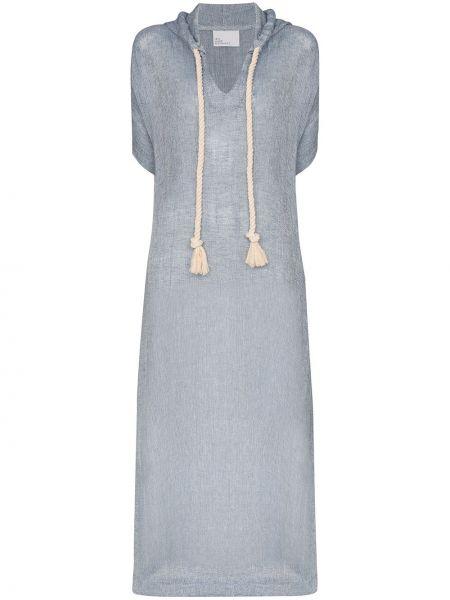 Платье мини с капюшоном синее Lisa Marie Fernandez